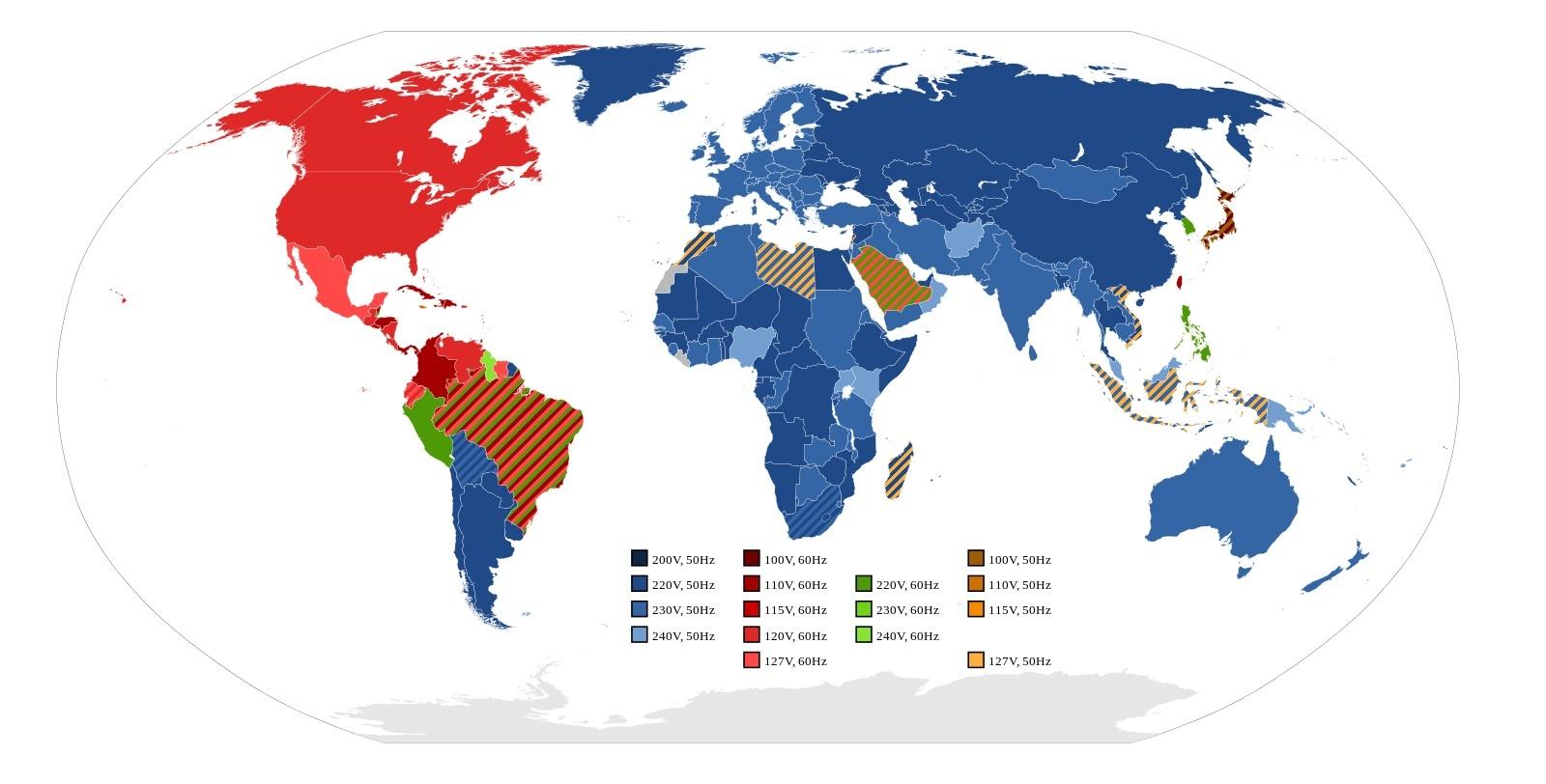 Типы сетевого напряжения в разных странах мира